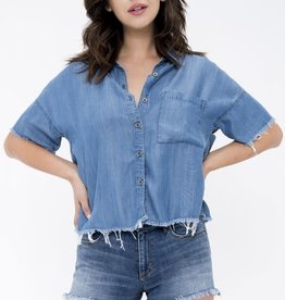 Mid rise cut off denim shorts
