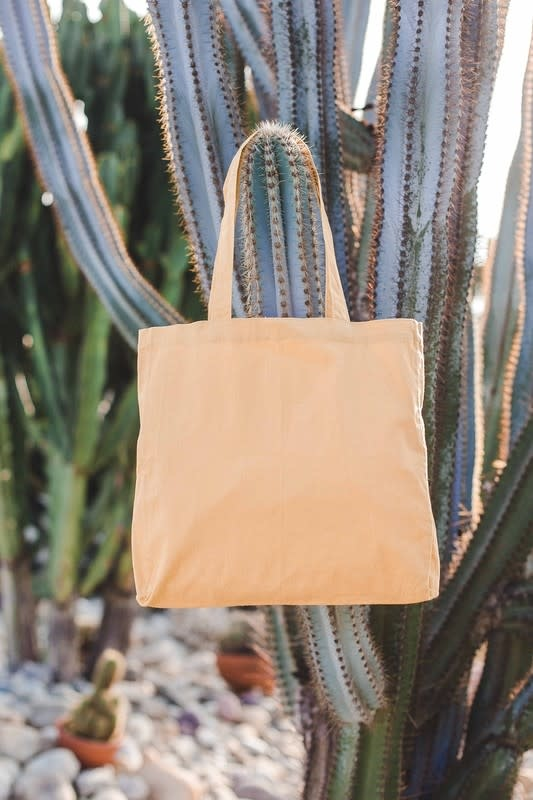 Yellow linen tote bag