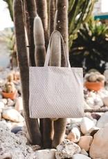 Grey dot linen tote bag