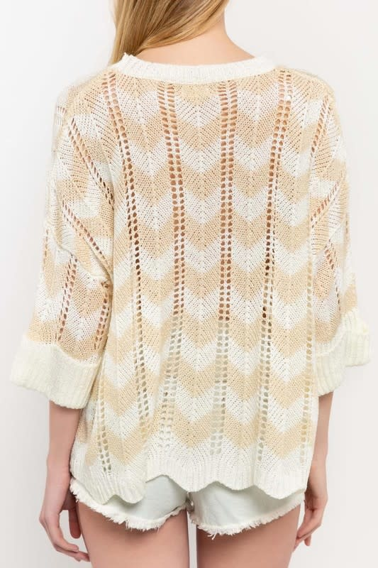 Natural open weave zigzag sweater