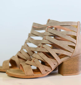 Taupe distressed strappy sandal