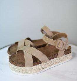 Taupe cross strap espadrille platform sandal