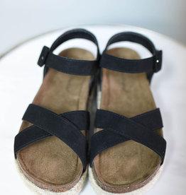 Black cross strap espadrille platform sandal