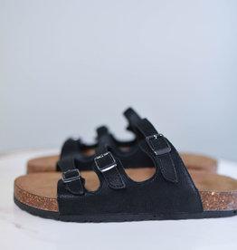 Black three strap buckle sandal