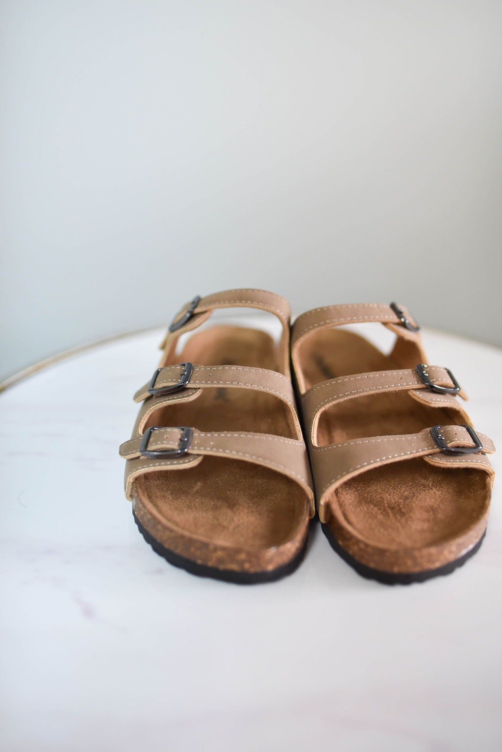Taupe 3 strap buckle sandal