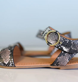 Snake skin one band ankle strap sandal