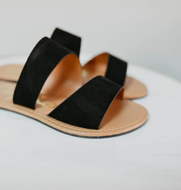 Black faux suede double band slide