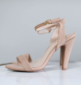Warm taupe one band ankle strap heel