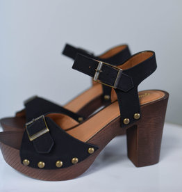Black adjustable band, ankle strap platform sandal