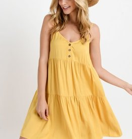Mustard baby doll button down front dress