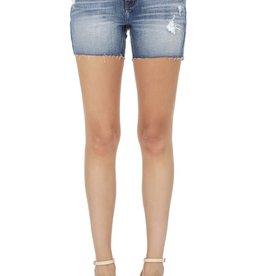 Mid rise thigh denim shorts