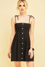 Tie straps smocked dress w/faux button detail