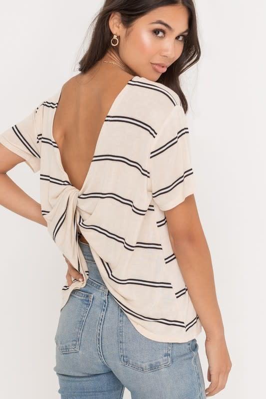 Cream stripe ss twist back top
