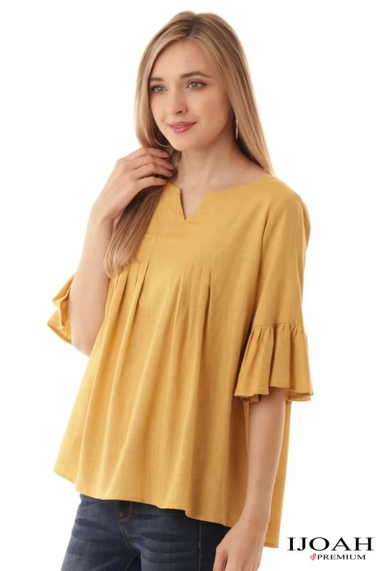 Mustard ruffle sleeve pleated top
