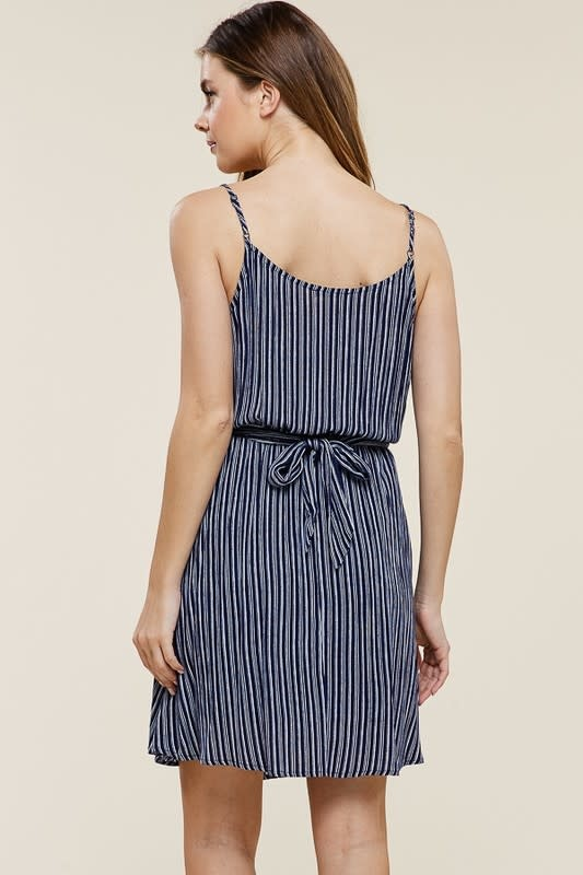 Blue stripe twist tie waist dress