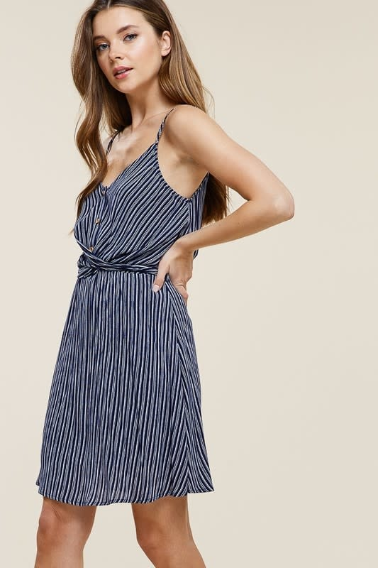 Blue stripe twist tie waist dress
