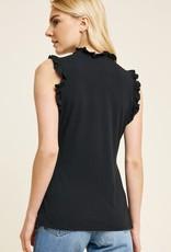 Black ruffle mock neck tank top