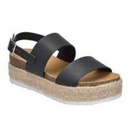 Black double band espadrille platform sandal