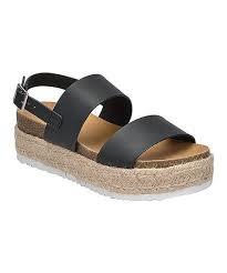 Black double band espadrille platform sandal