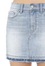Lt wash high rise denim skirt w/frayed hem