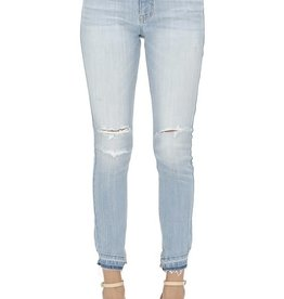 Lt wash high rise skinny crop jeans