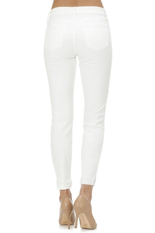 White mid rise skinny crop jeans