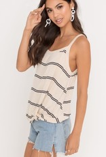 Cream & black stripe knotted hem tank