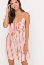 Coral & taupe drawstring waist dress