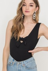 Sleeveless tie front bodysuit