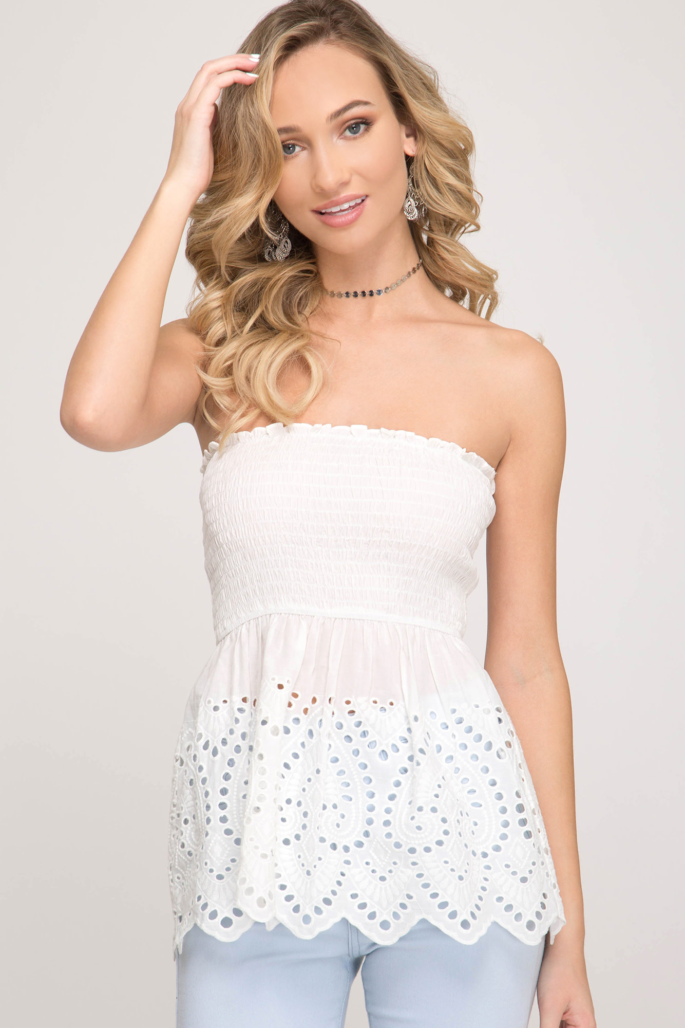Smocked tube top w/embroidered detail
