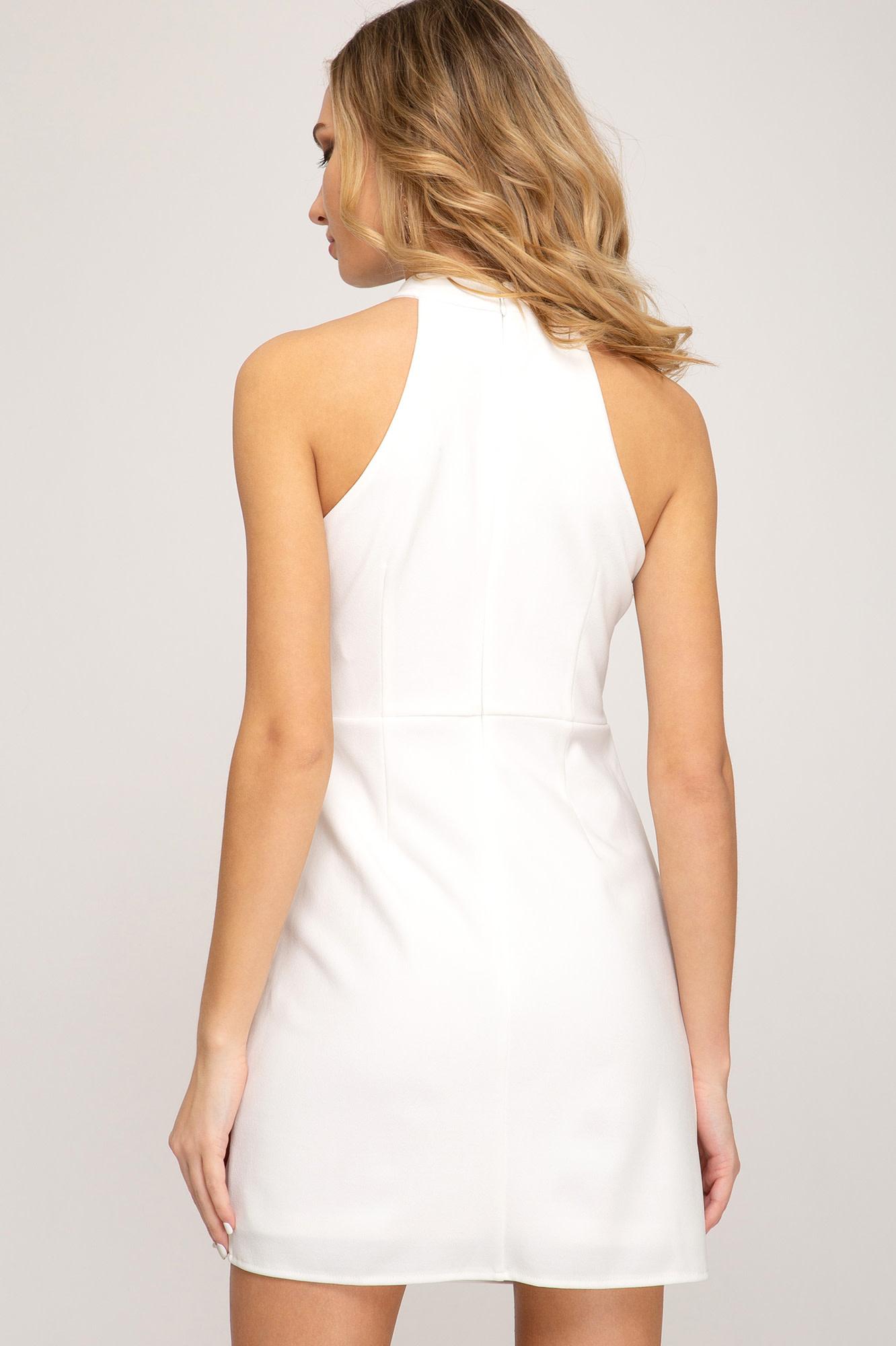 White halter fitted dress