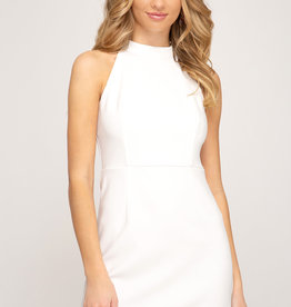 White halter fitted dress