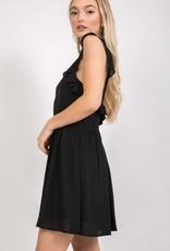 Black ruffle sleeve dress w/open back