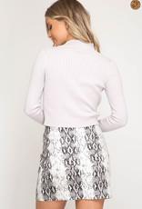 Snake skin print mini skirt