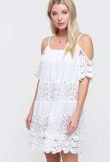White lace panel cold shoulder dress