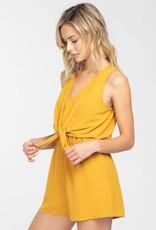 Mustard sleeveless romper w/tie front detail
