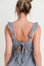 Black & white gingham flutter strap top w/tie back