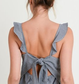 Black & white gingham flutter strap top w/tie back