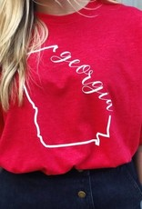 Red Georgia script tee