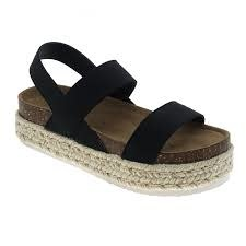 Black double elastic strap platform sandal