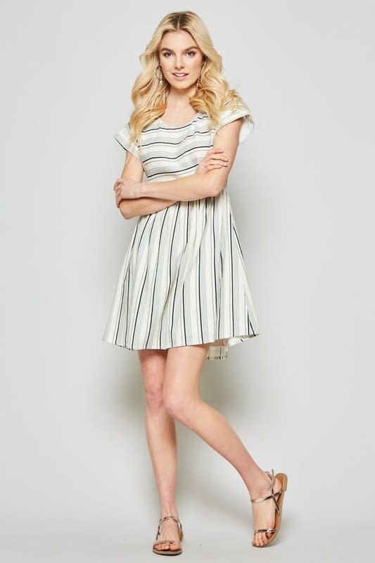 Multi stripe ss shift dress