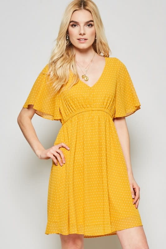 Marigold polka dot V neck baby doll dress
