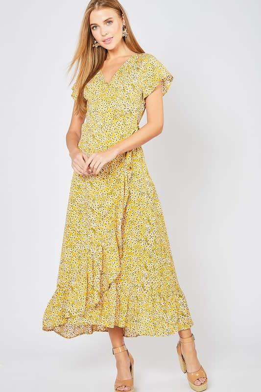 425d00671e46 Mustard floral print wrap dress - Image Boutique