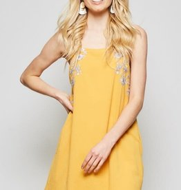 Marigold embroidered sleeveless dress