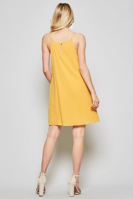 Marigold embroidered sleeveless dress