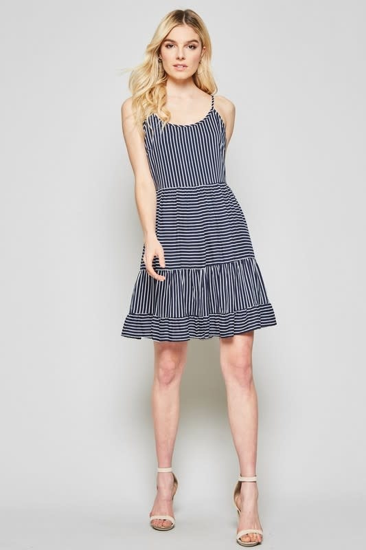 Blue & white stripe sleeveless dress