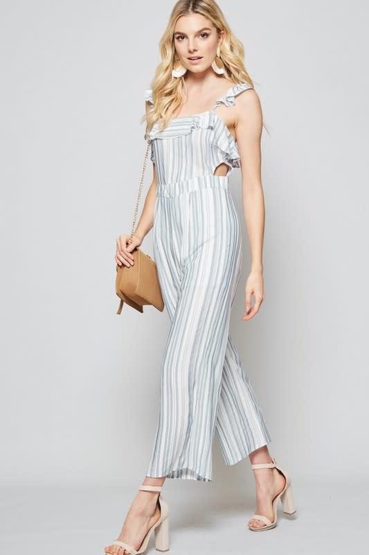 Lt blue & white striped jumpsuit