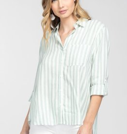 Mint & white stripe button down top