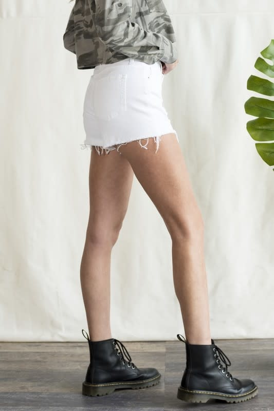 White high rise distressed denim shorts