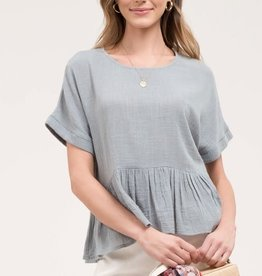 Blue sage peplum top
